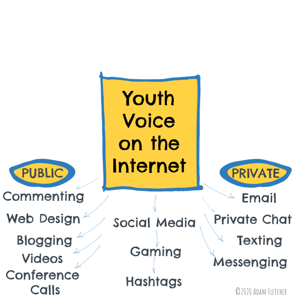 Youth voice activities on the Internet