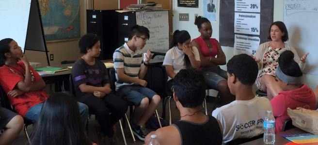 Seattle students in a Freechild workshop discuss issues with an adult ally